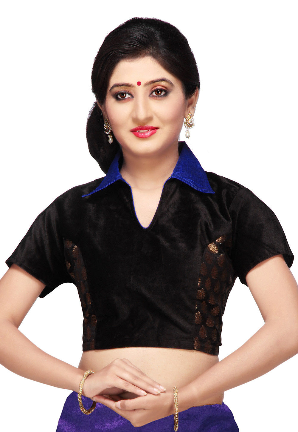 Chanderi Silk Brocade and Velvet Blouse in Black