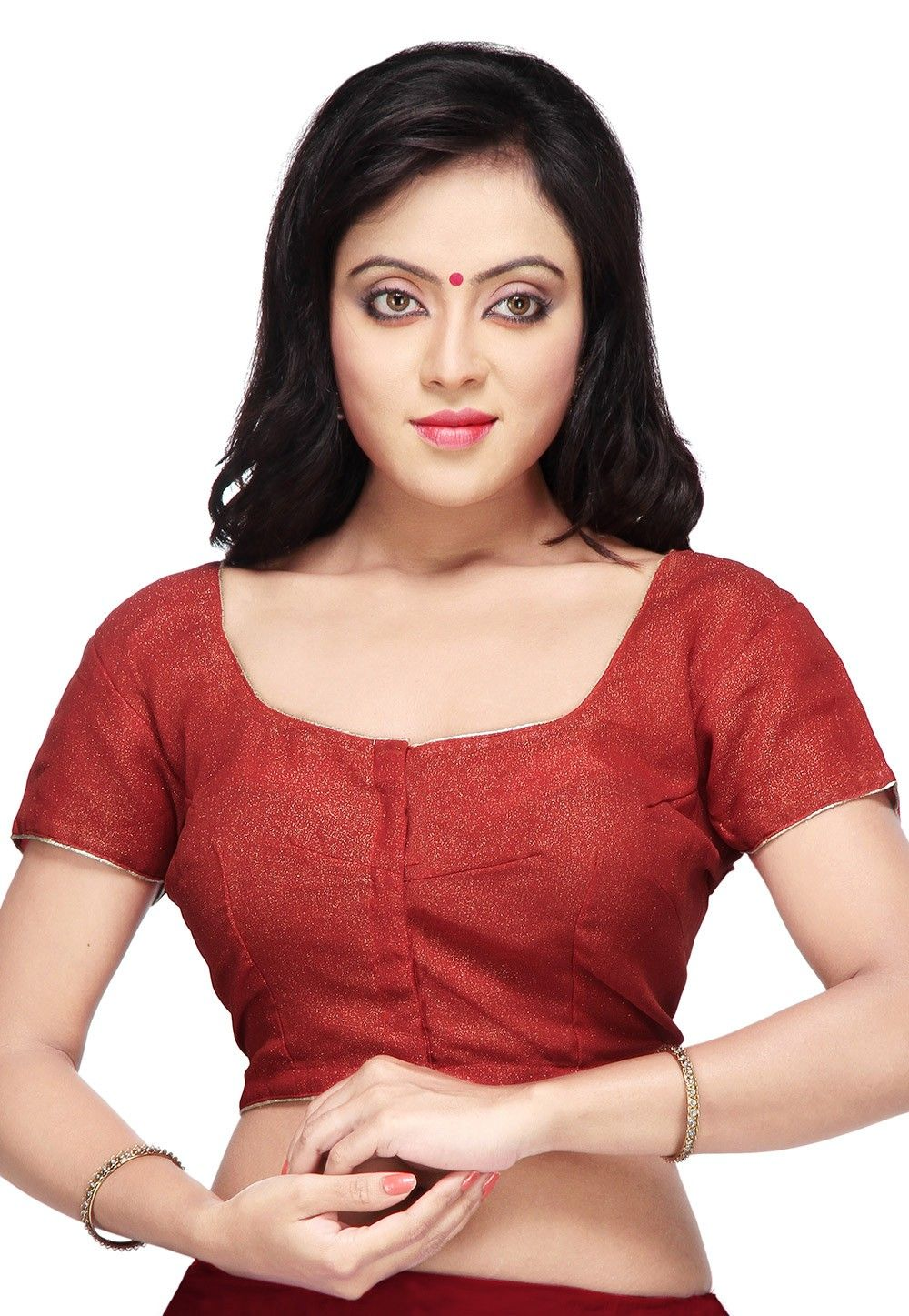 Shimmer Georgette Blouse in Red
