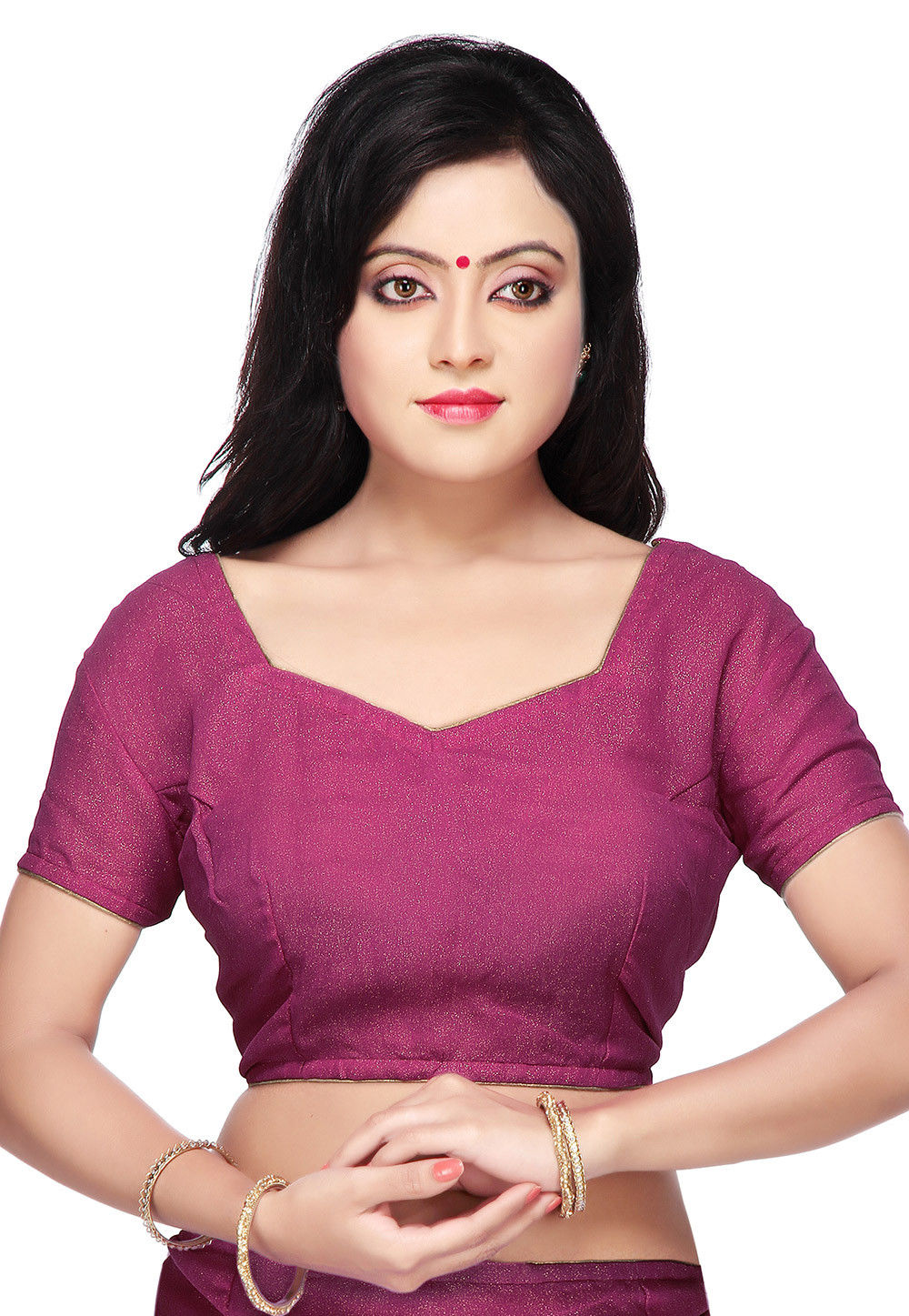 Shimmer Georgette Blouse in Magenta