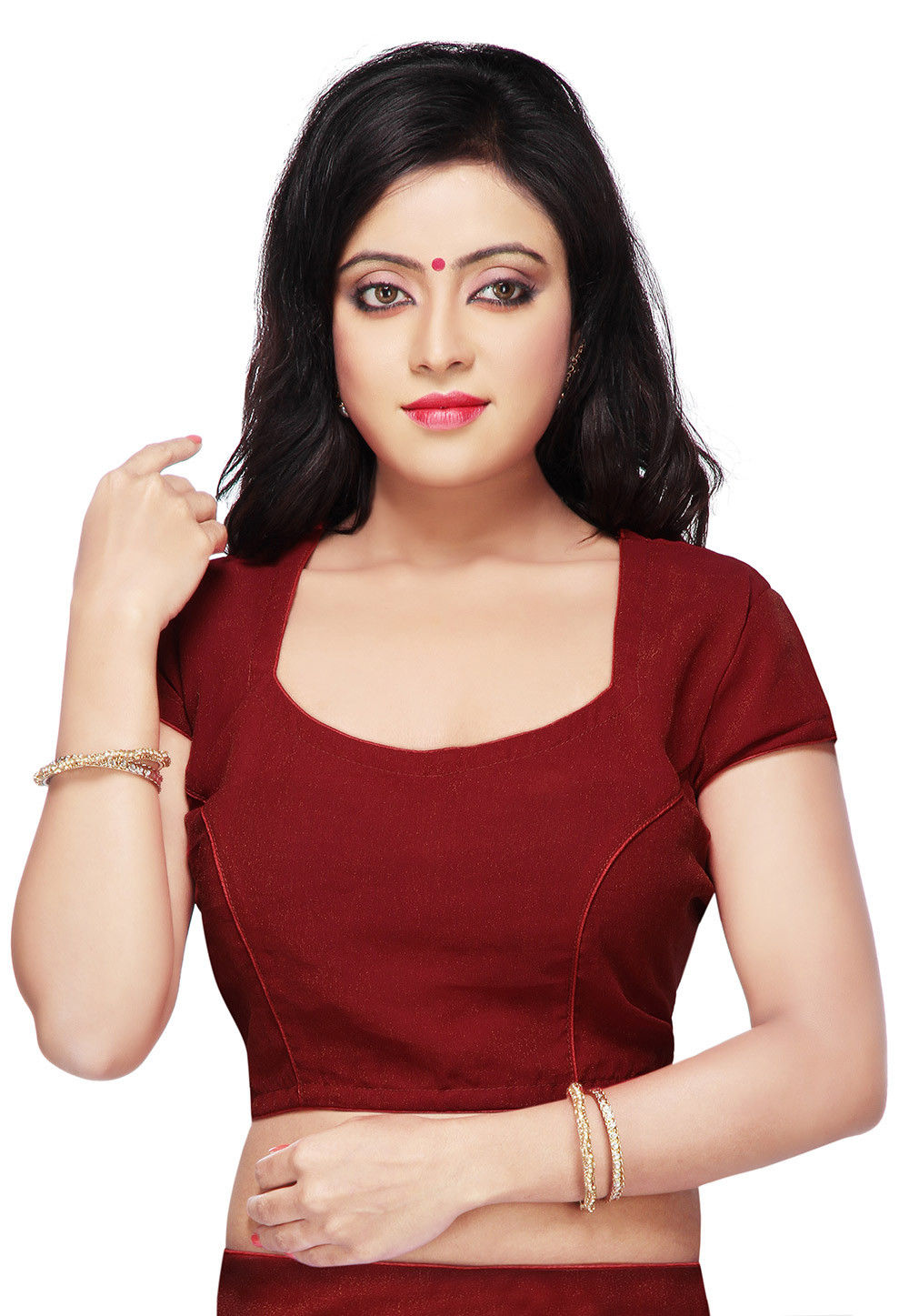 Shimmer Georgette Blouse in Maroon