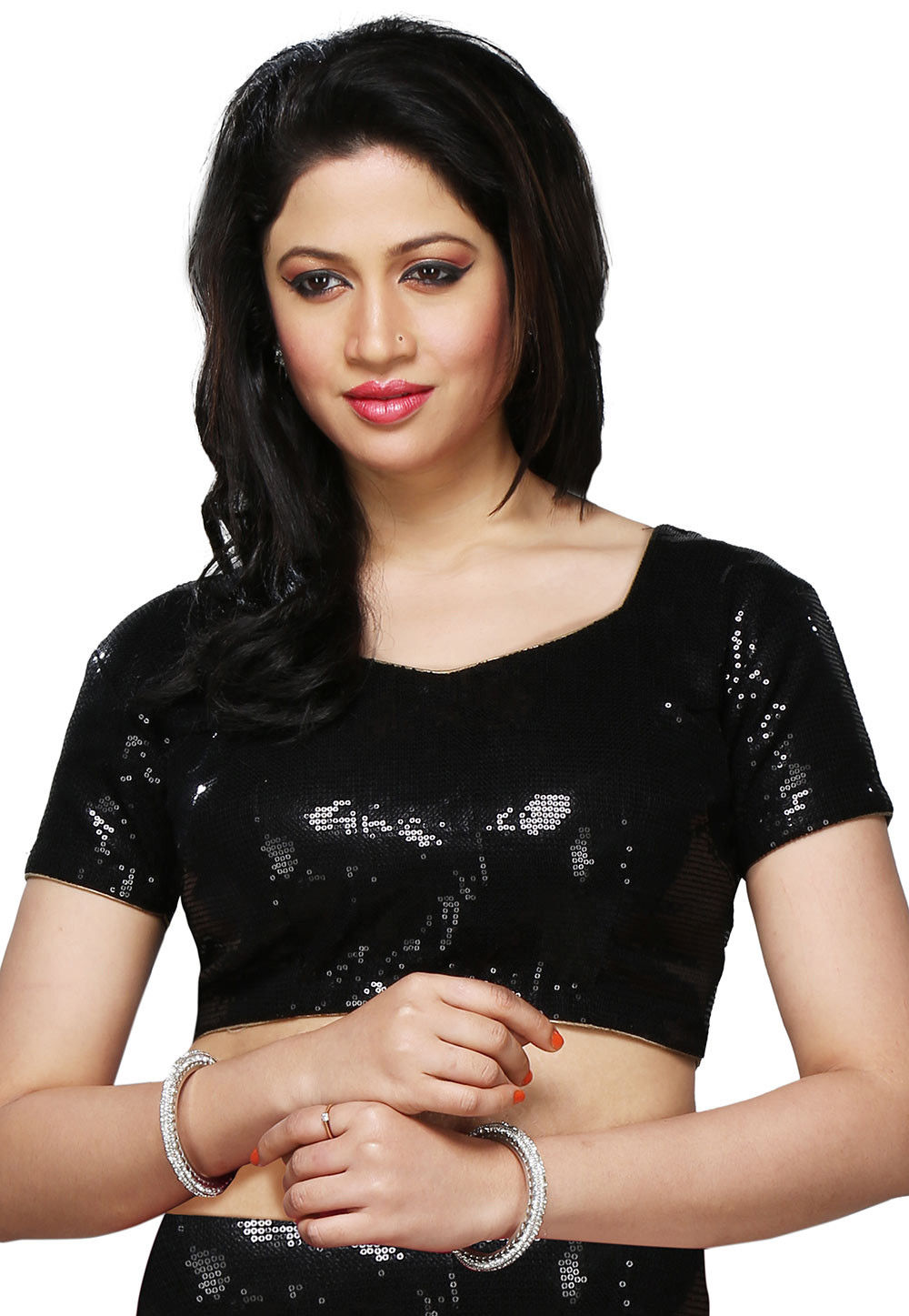 Embroidered Georgette Blouse in Black