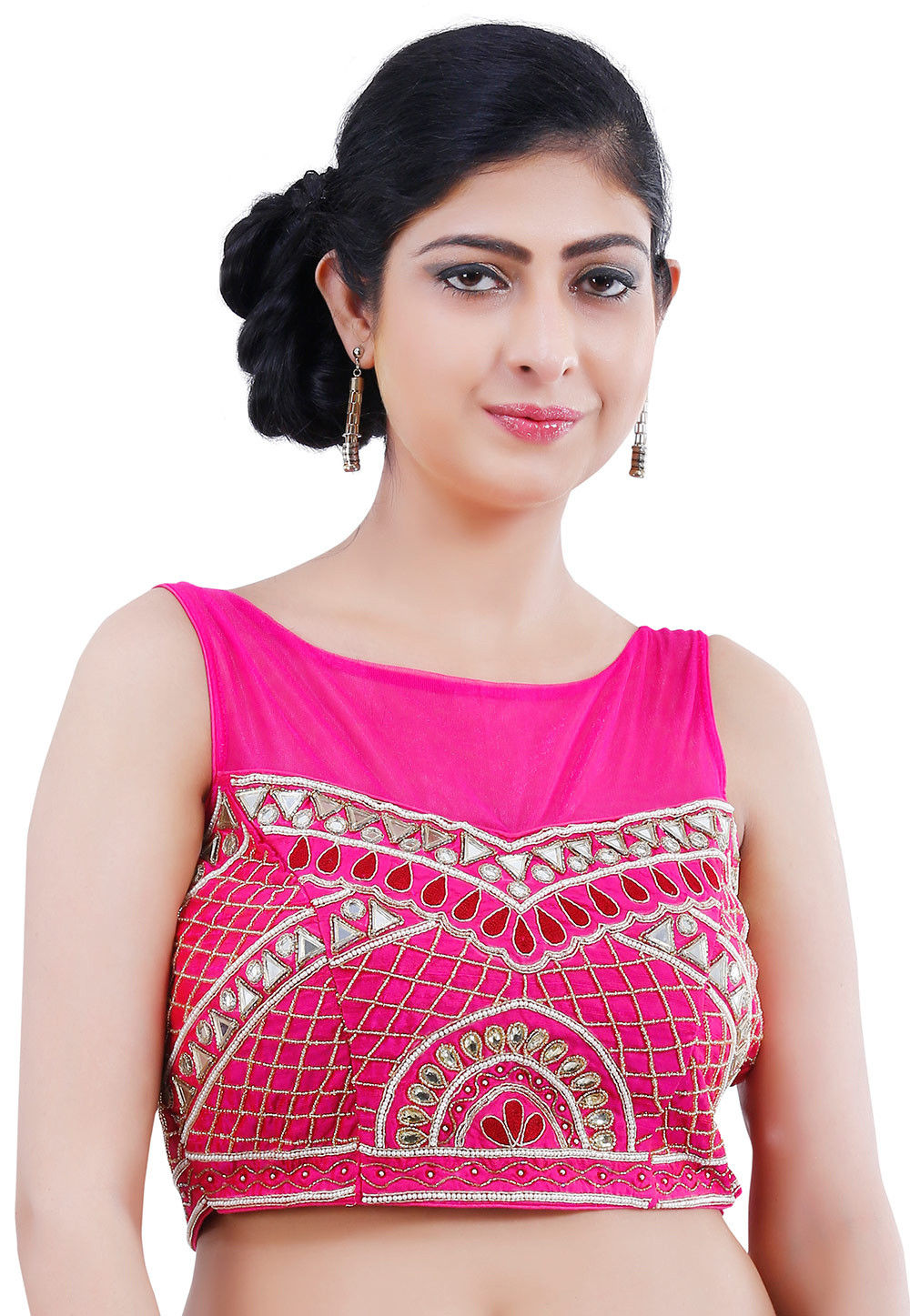 Embroidered Raw Silk Blouse in Fuchsia
