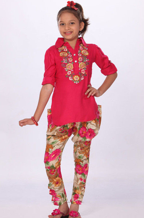 Embroidered Cotton Salwar Set in Pink