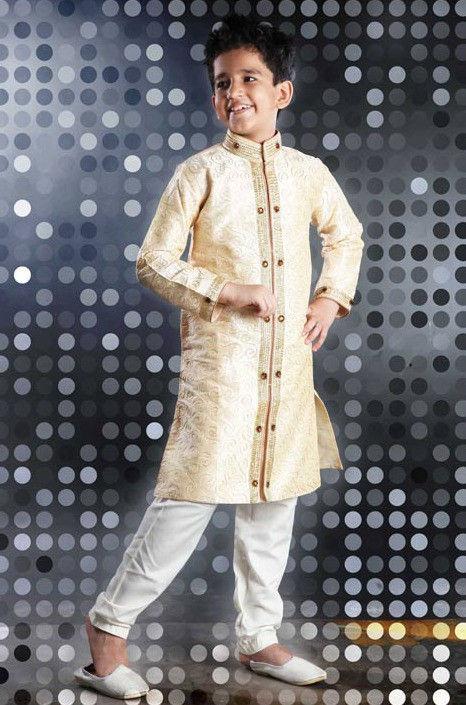 Embroidered Dupion Silk Kurta Pyjama Set in Cream
