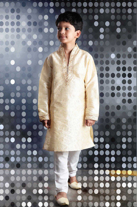 Embroidered Dupion Kurta Pyjama Set in Cream
