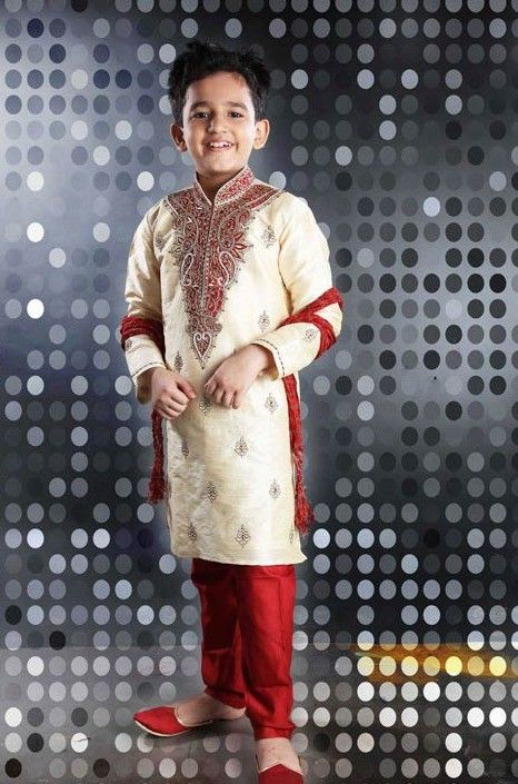 Embroidered Dupion Silk Sherwani Set in Cream
