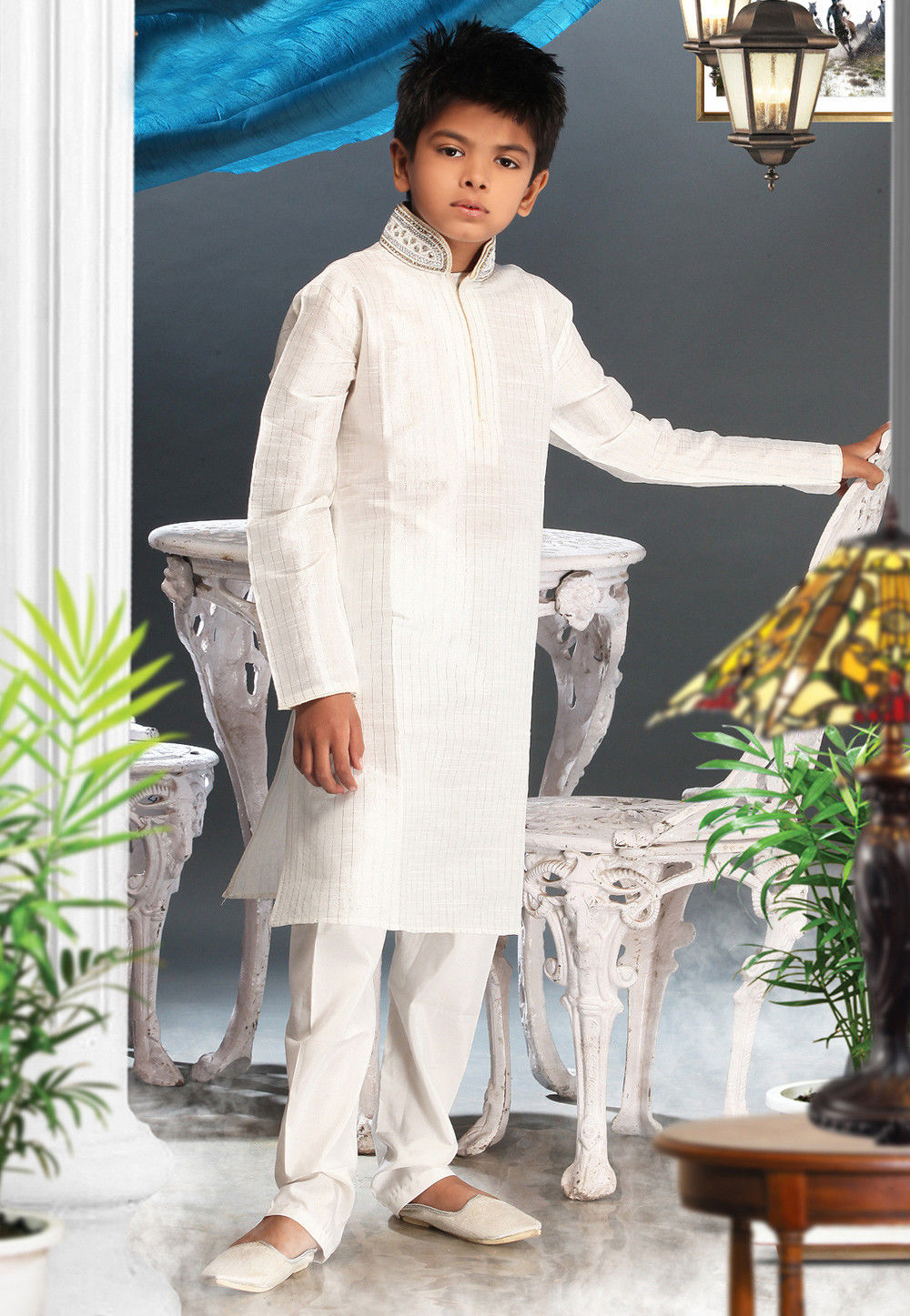 Art Silk Kurta Pyjama Set in White