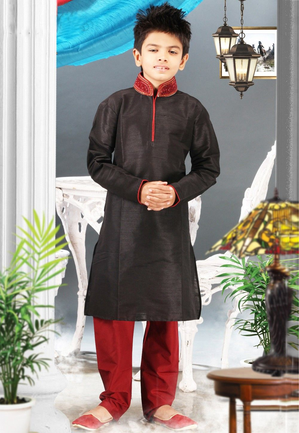 Art Silk Kurta Pyjama Set in Black