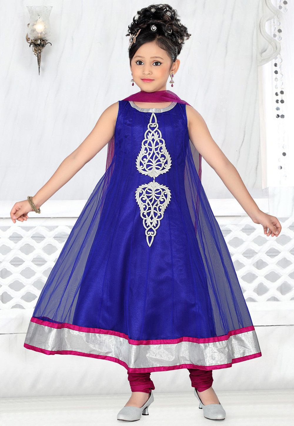 Net Salwar Set in Blue