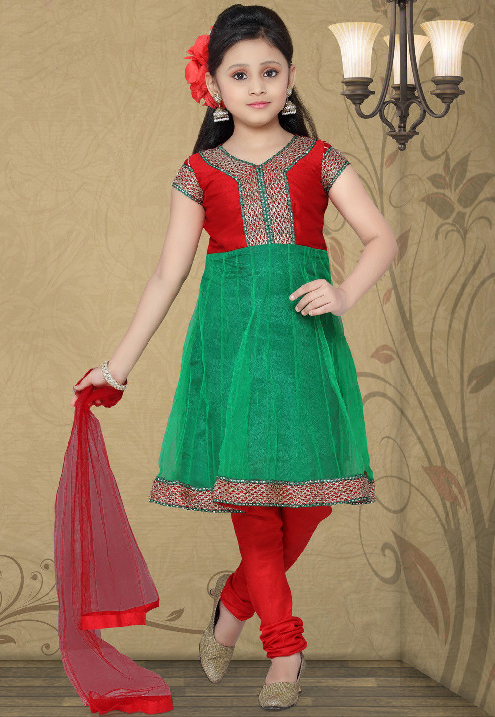 Embroidered Net Salwar Set in Green and Red