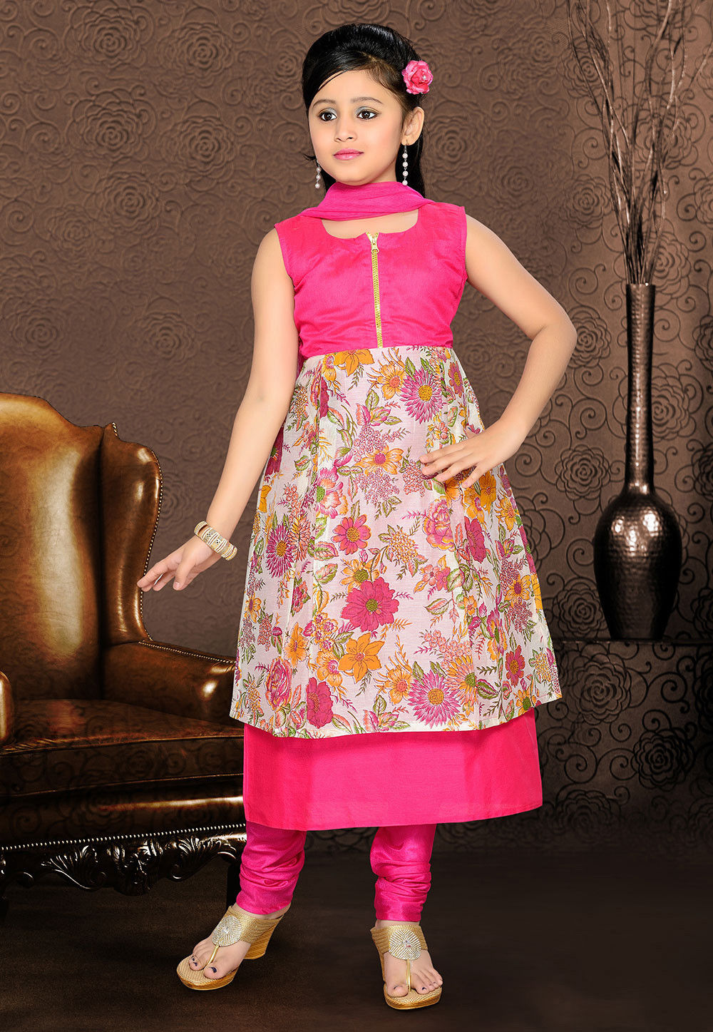 Art Silk and Cotton Double Layered Salwar Sets in Fuchsia