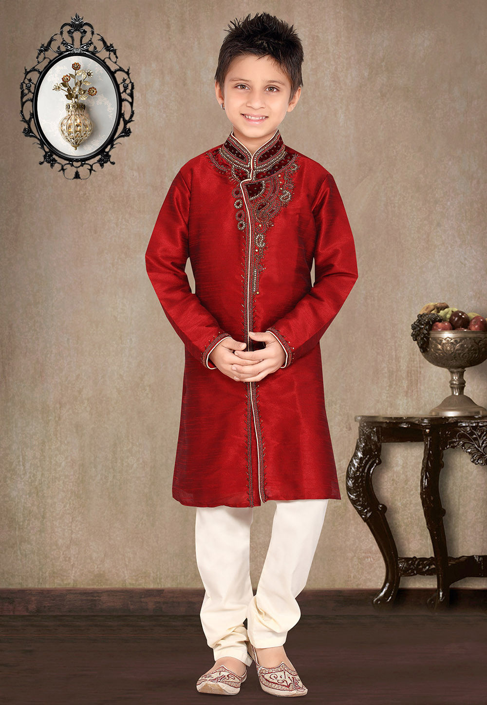 Embroidered Art Silk Kurta Pyjama Set in Maroon