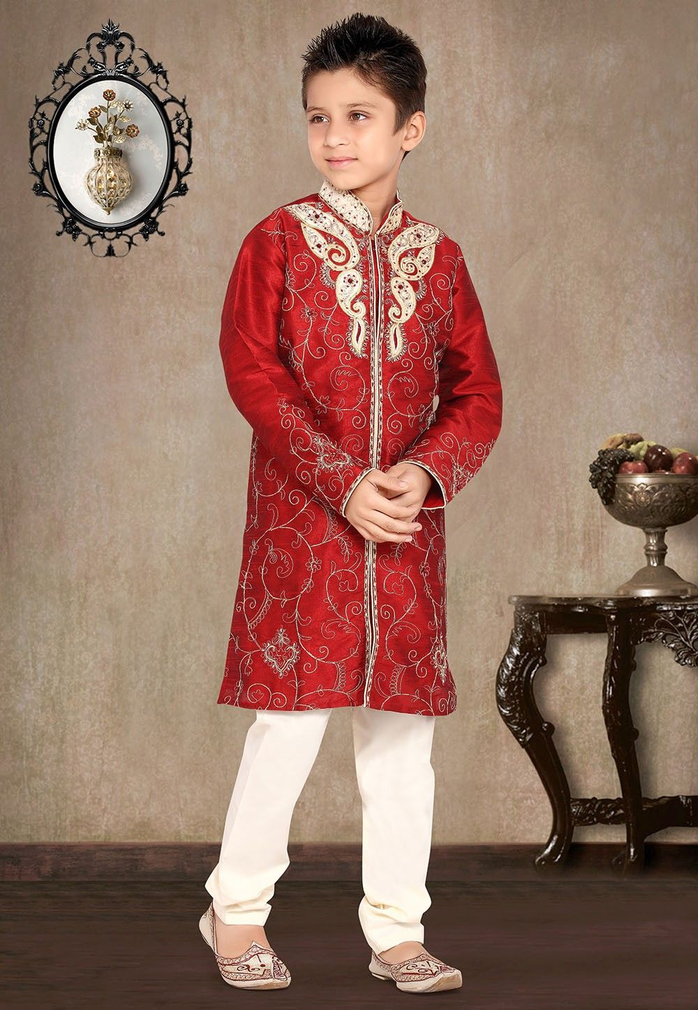 Embroidered Art Silk Kurta Pyjama Set in Red