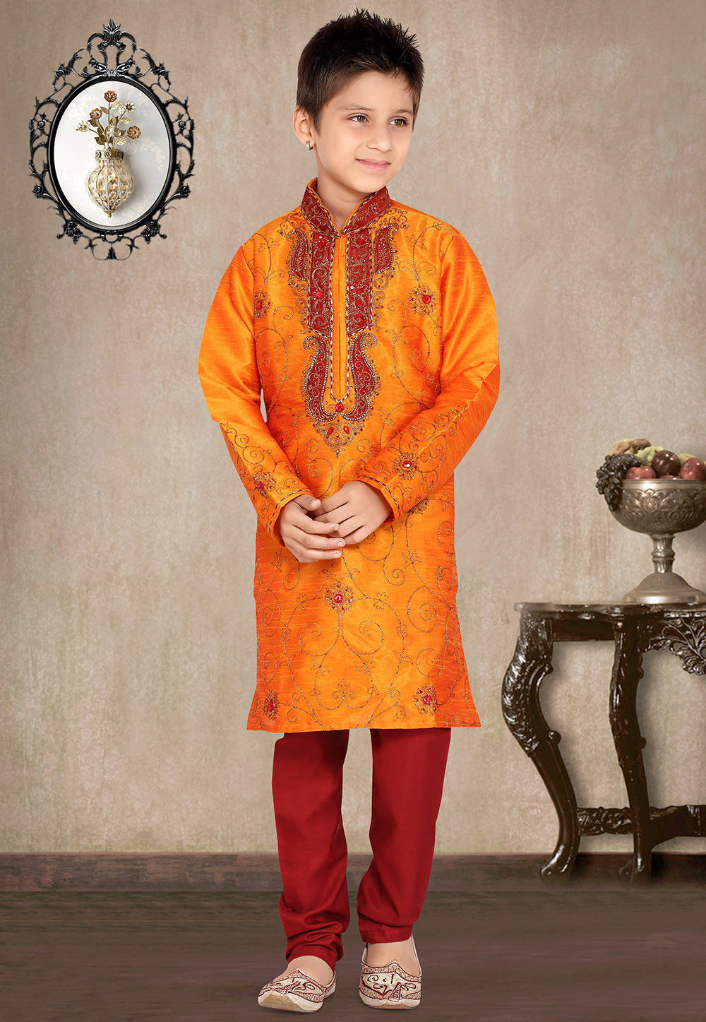 Embroidered Art Silk Kurta Pyjama Set in Orange