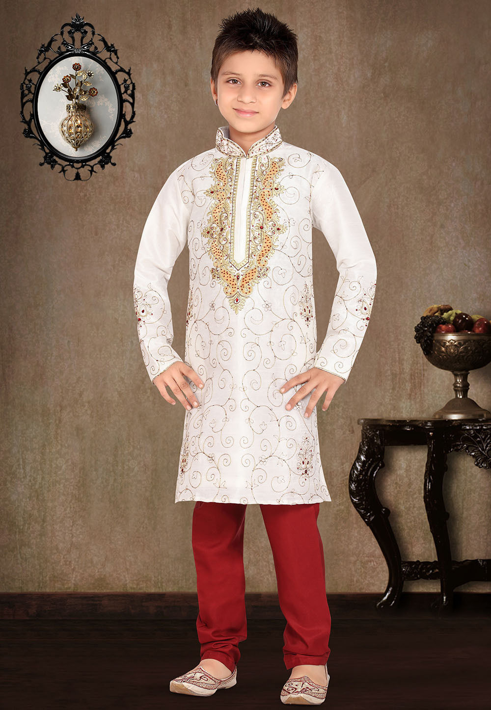 Embroidered Art Silk Kurta Pyjama Set in Off White