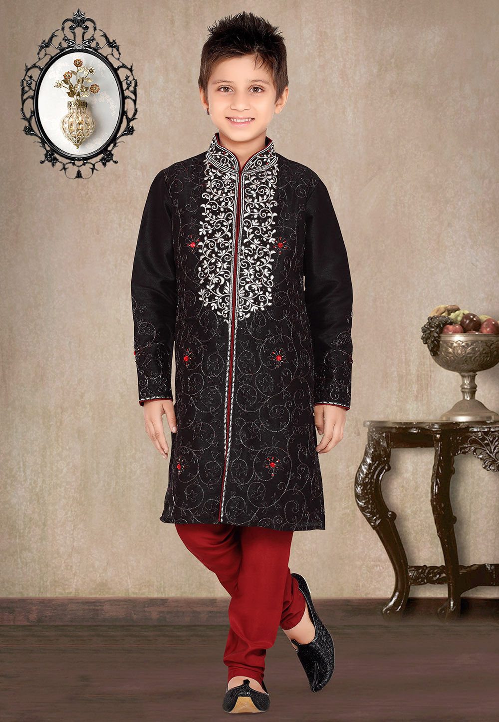 Embroidered Art Silk Kurta Pyjama Sets in Black