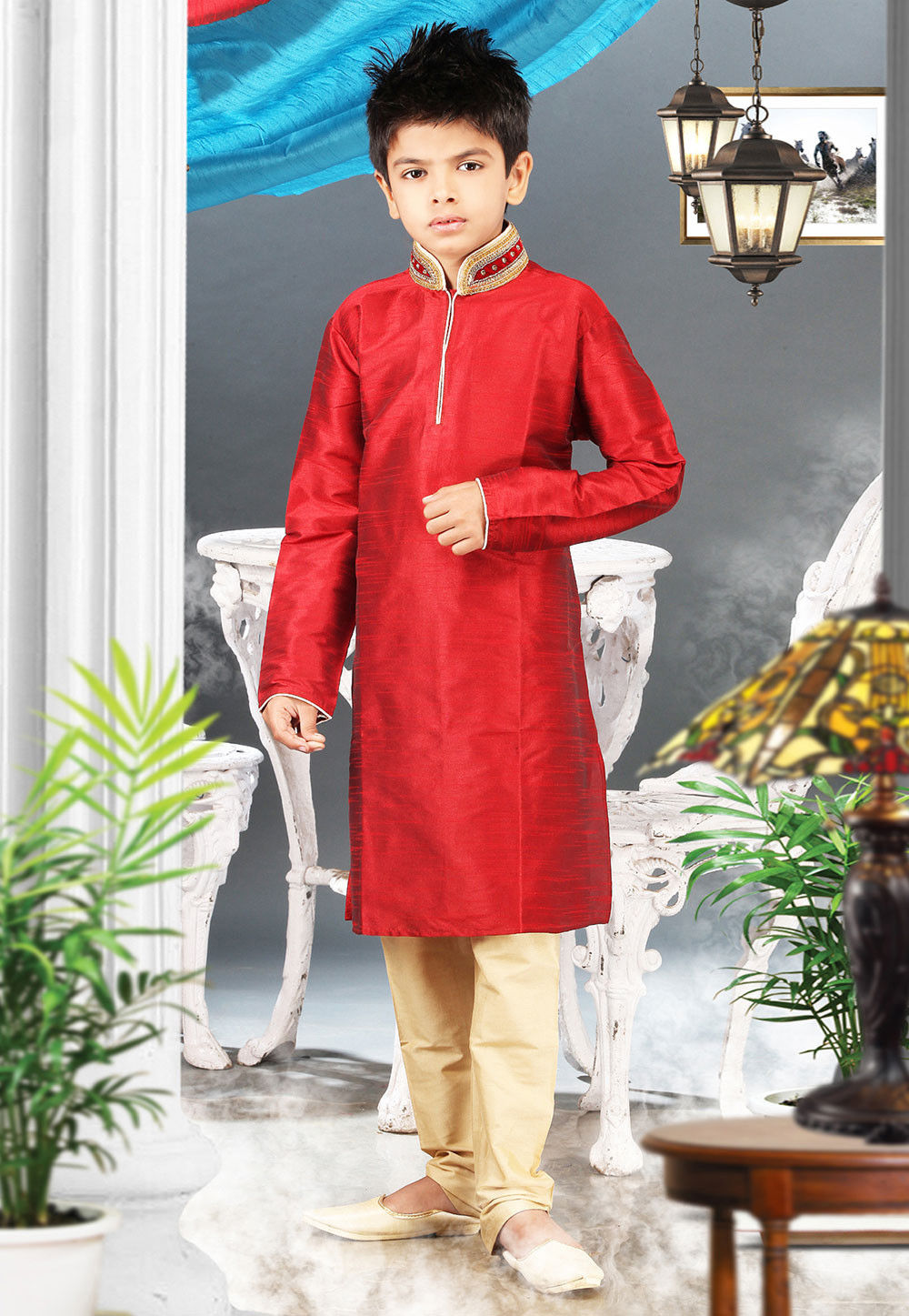 Embroidered Art Silk Kurta Pyjama Sets in Red