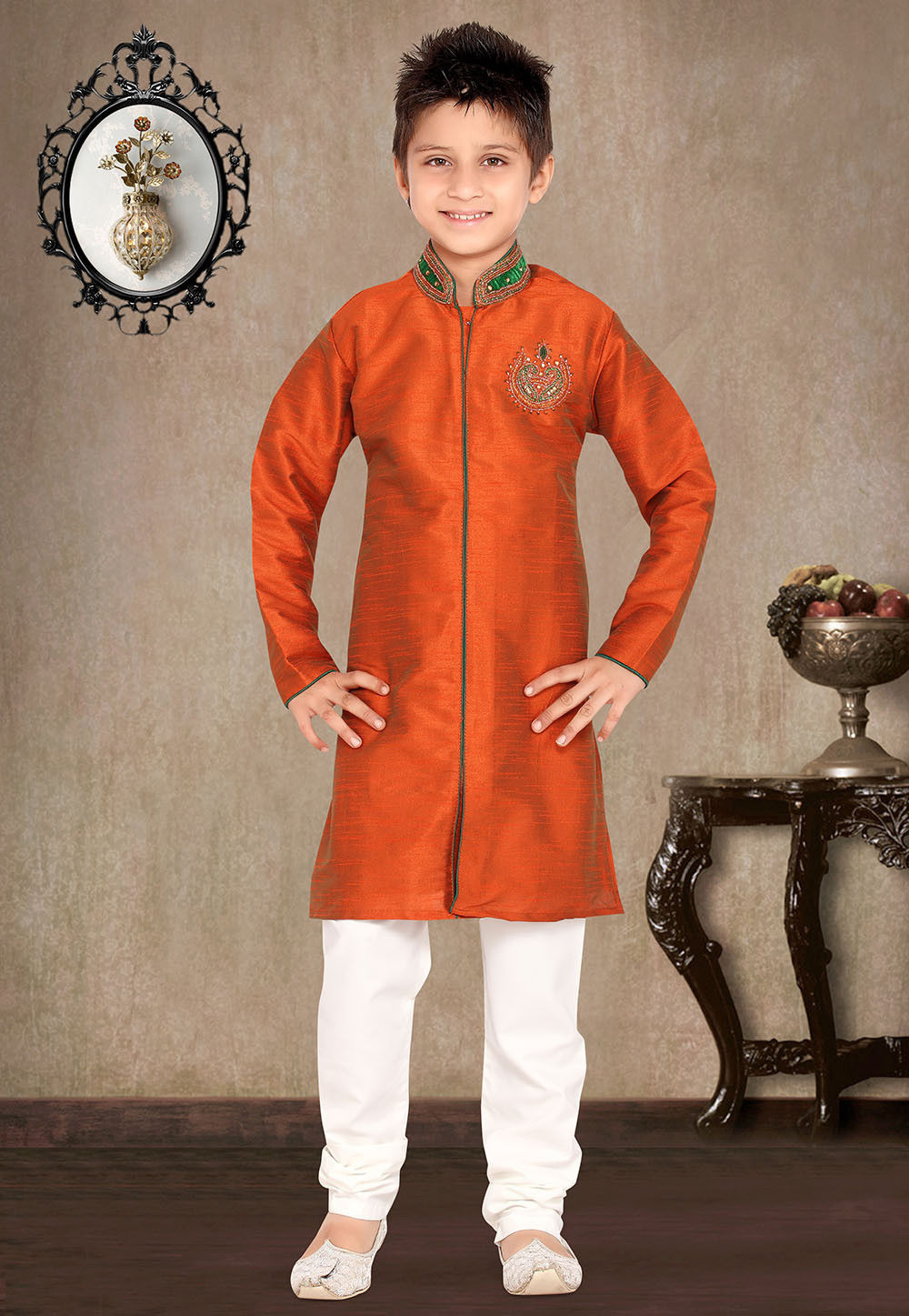 Embroidered Rust Art Silk Kurta Set