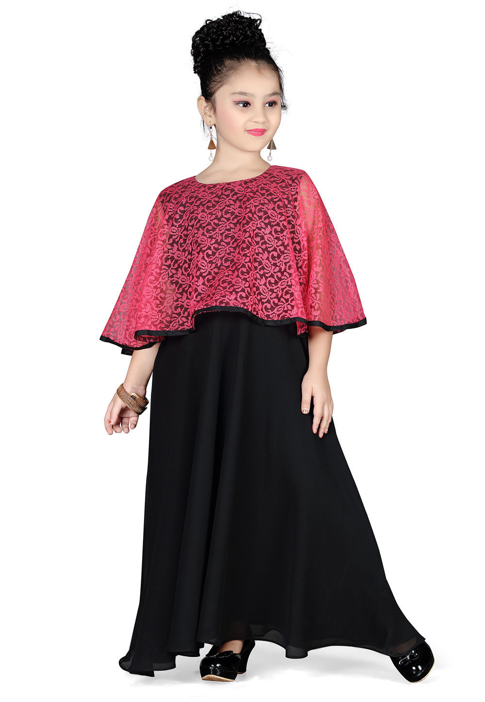Plain Georgette and Net Gown in Black and Pink
