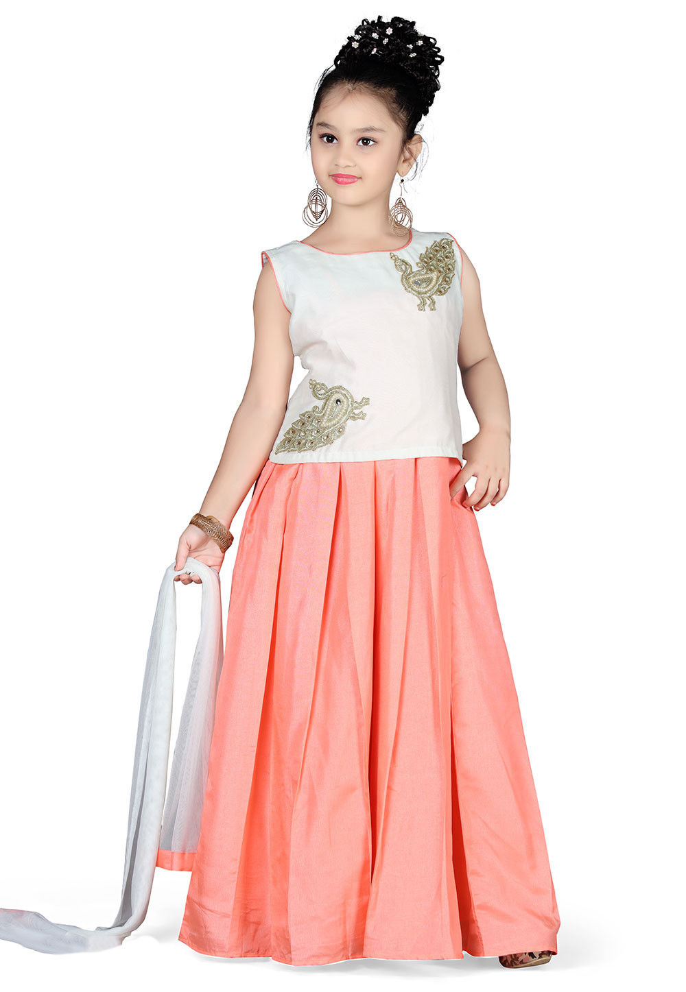 Plain Art Silk Circular Lehenga in Peach
