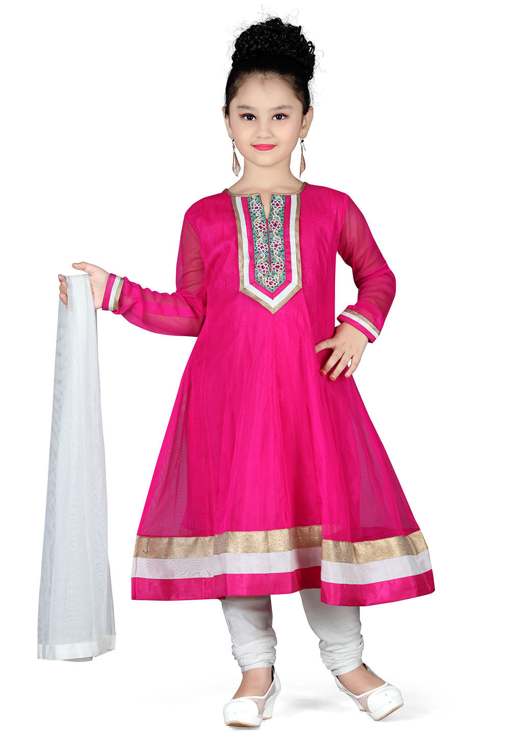 Plain Net Anarkali Suit in Fuchsia