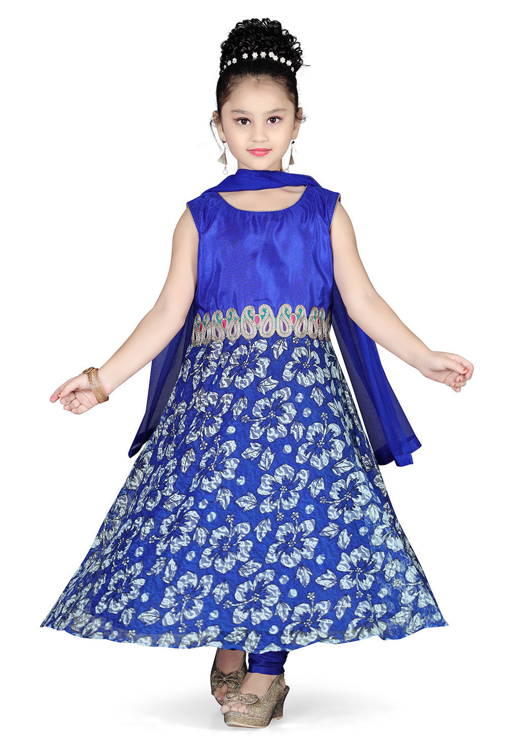 Art Silk and Net Anarkali Kameez with Shantoon lining in Blue
