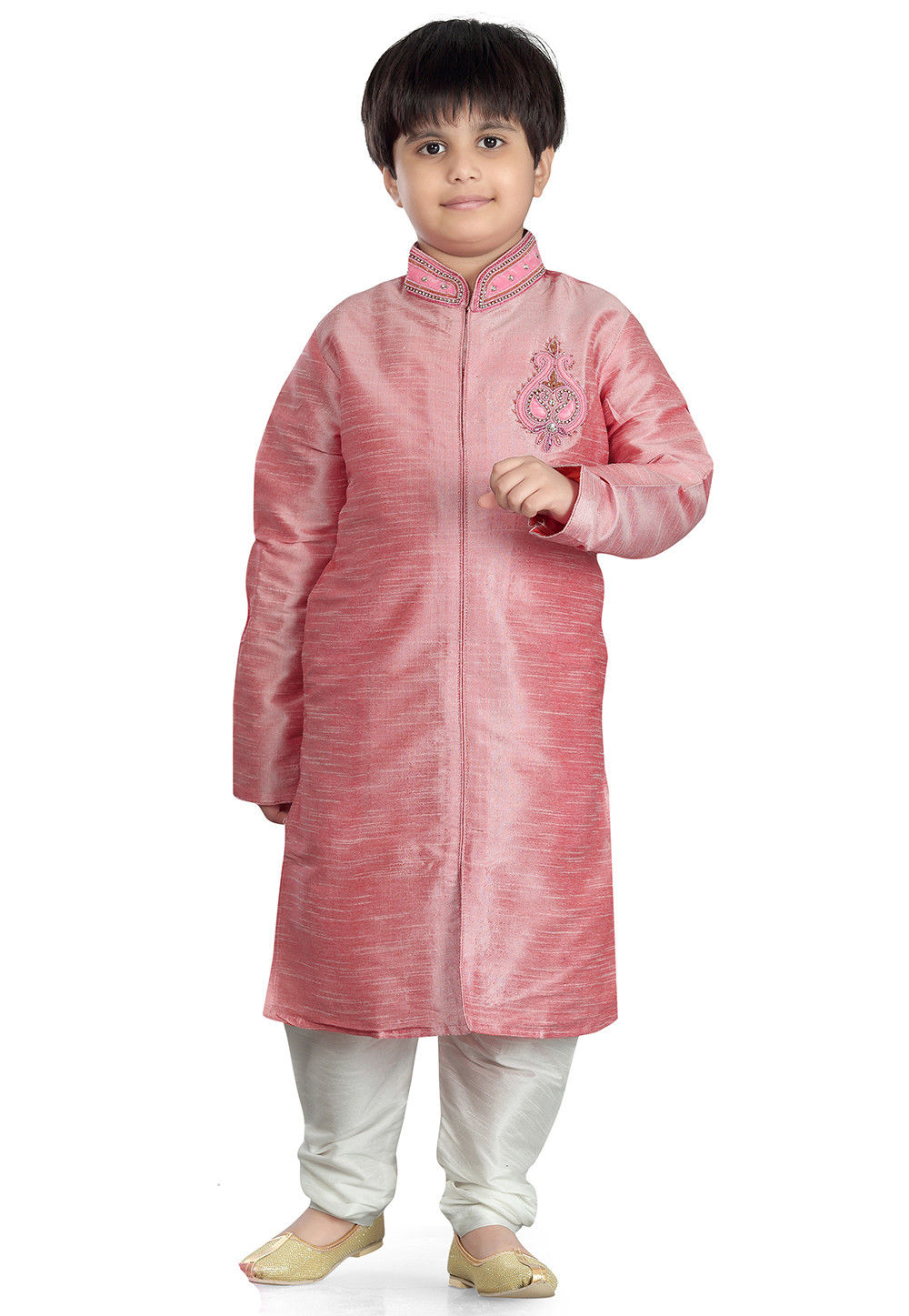Plain Art Silk Kurta Set in Pink