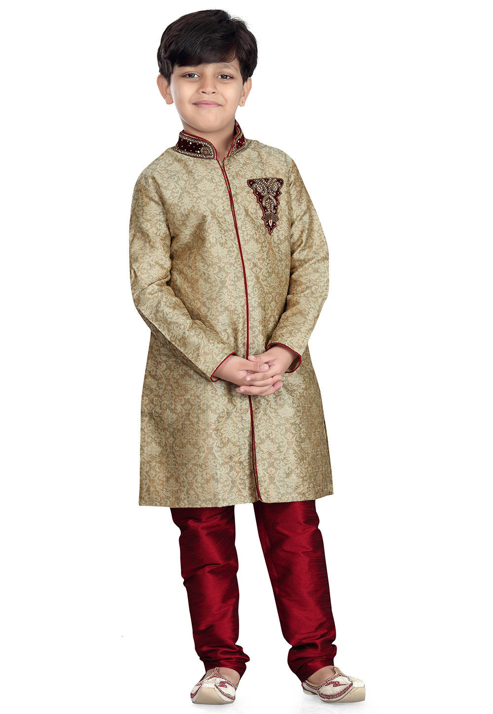 Plain Art Silk Jacquard Sherwani in Beige