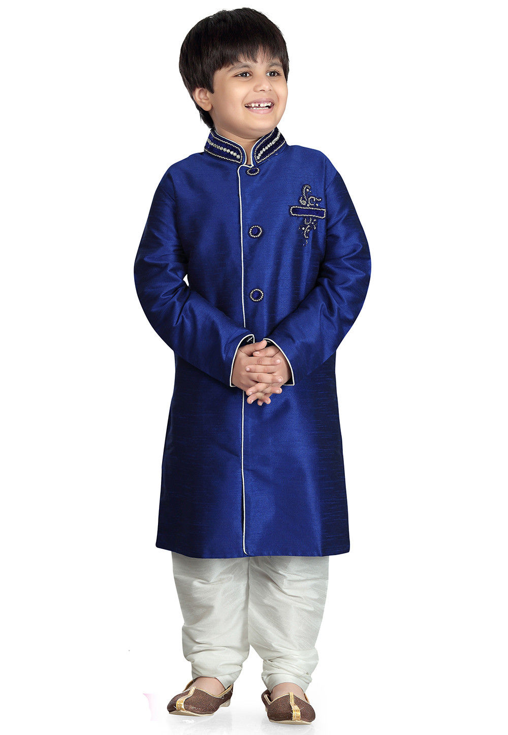 Plain Art Silk  Sherwani in Blue