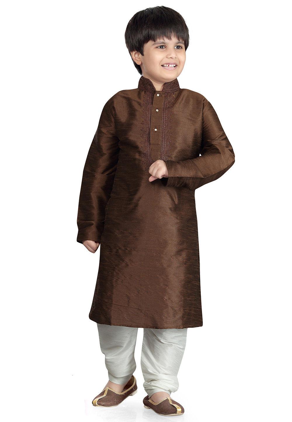 Plain Art Silk Kurta Set in Brown