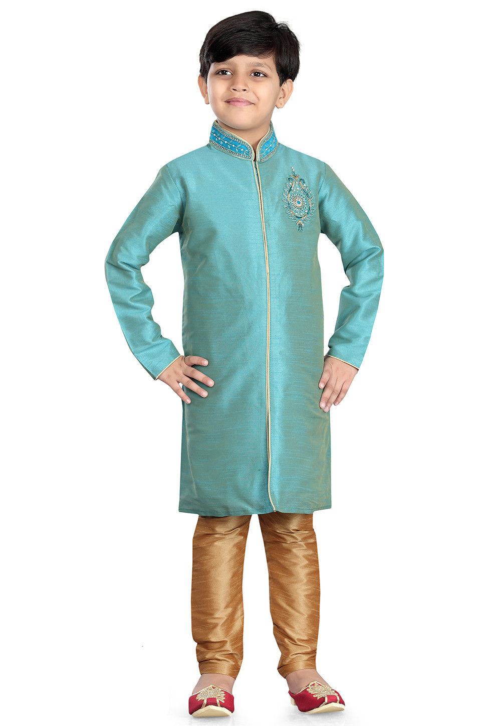 Woven Art Silk  Sherwani in Sky Blue