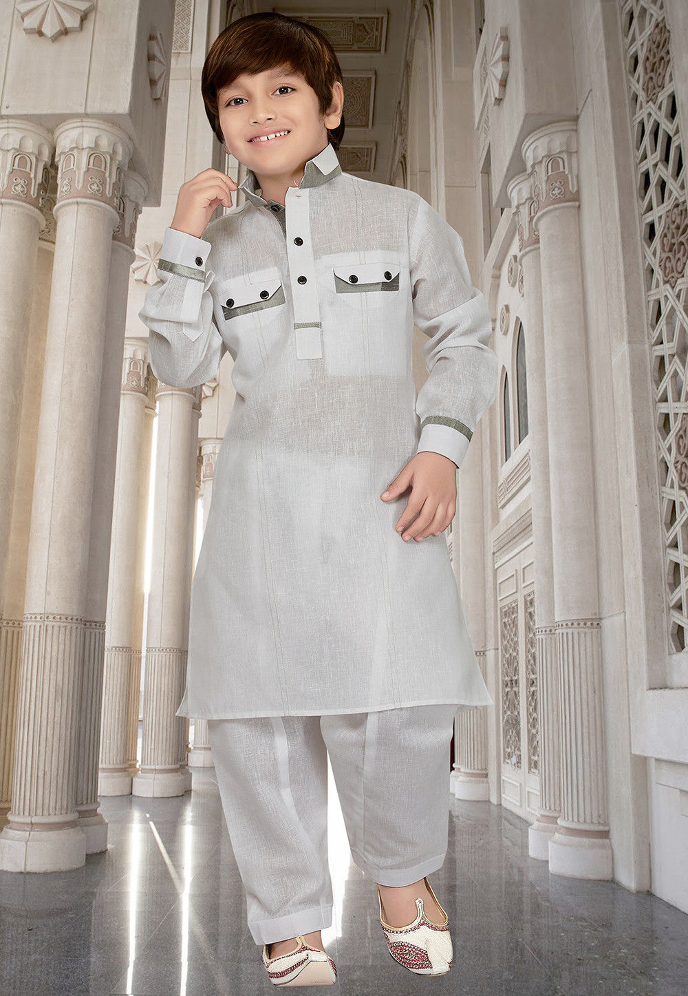 Plain Cotton Linen Kurta Set in Off White