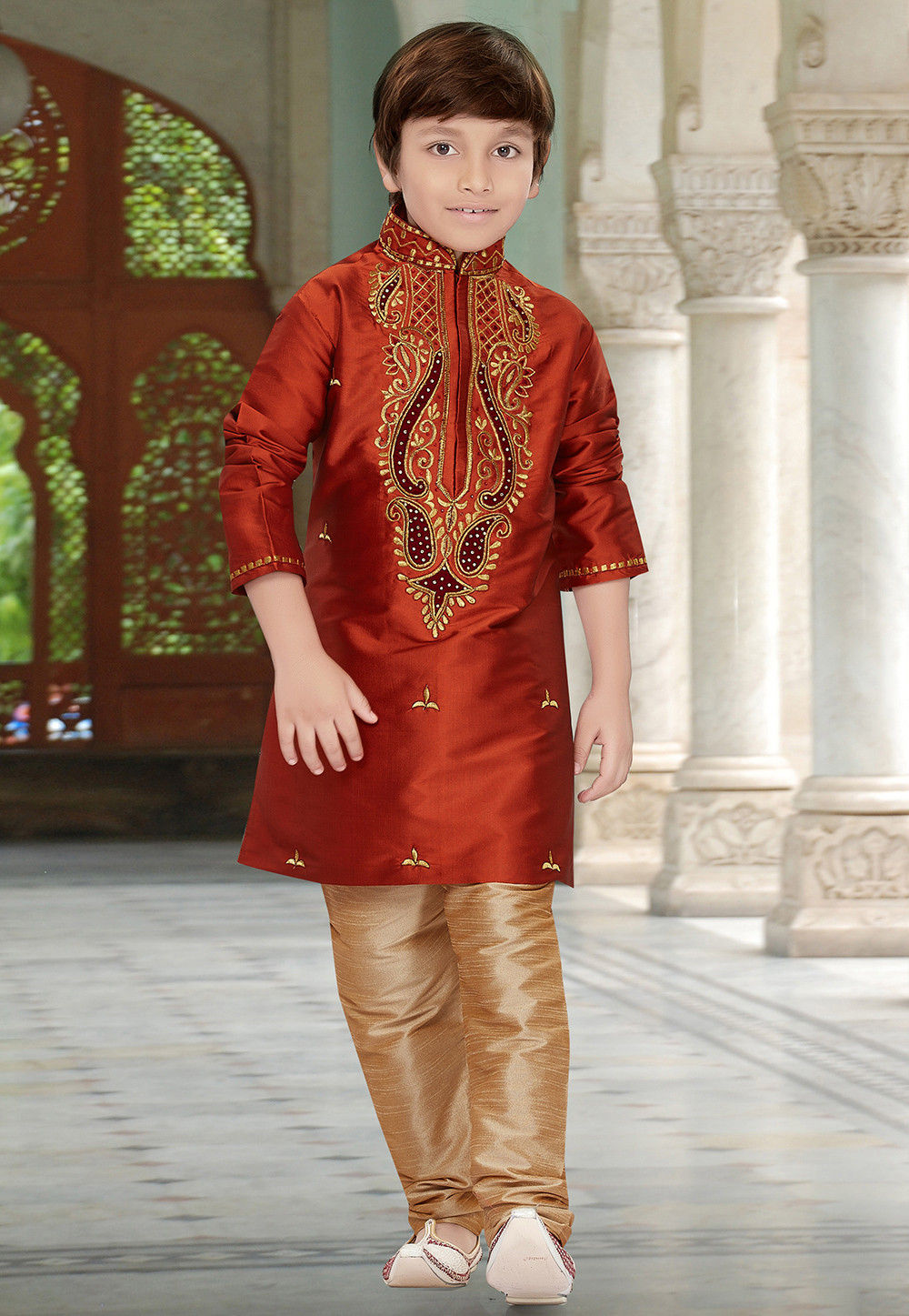 Embroidered Art Silk Kurta Set in Rust