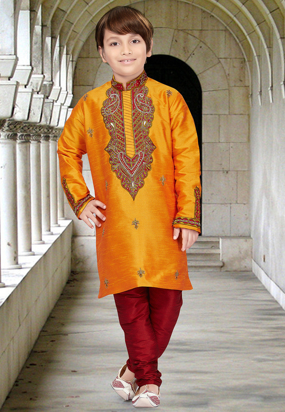 Embroidered Dupion Silk Kurta Set in Orange