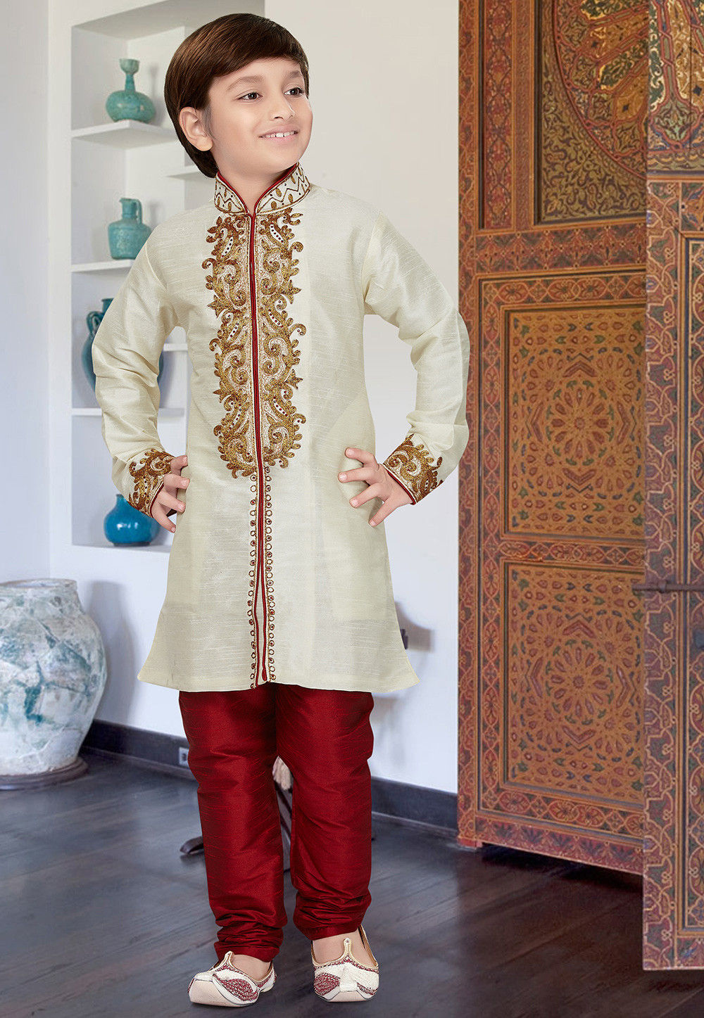 Embroidered Dupion Silk Sherwani in Light Beige