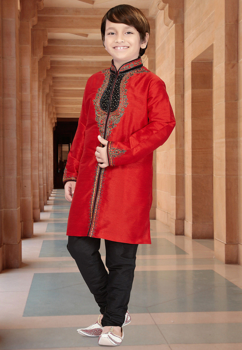 Embroidered Dupion Silk Sherwani in Red