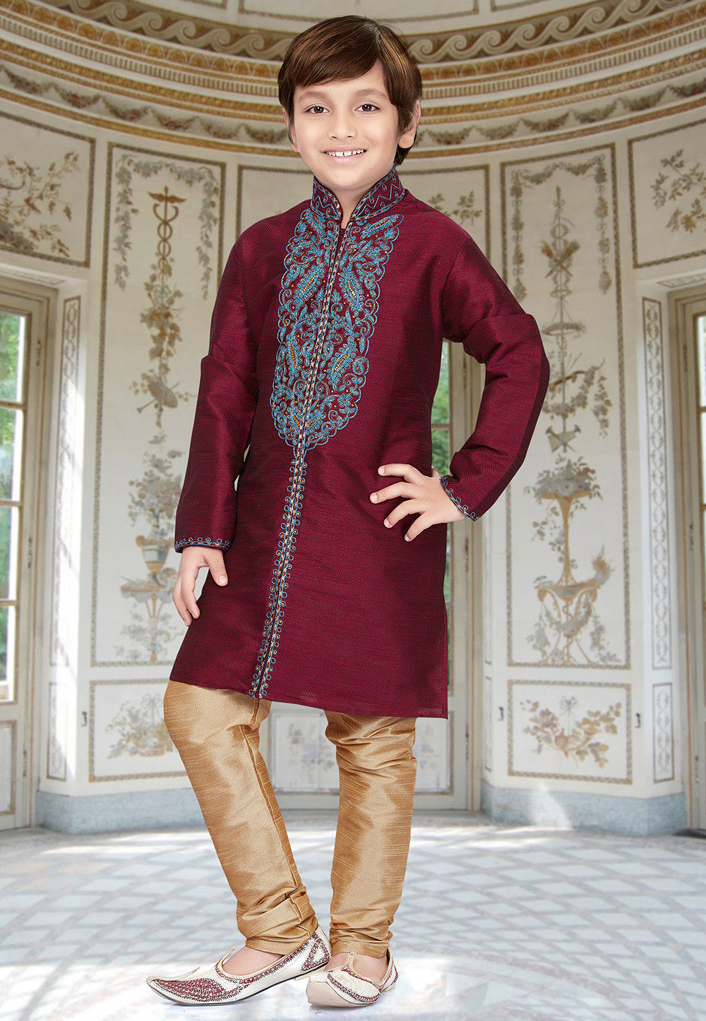 Embroidered Art Silk Jacquard Sherwani in Wine