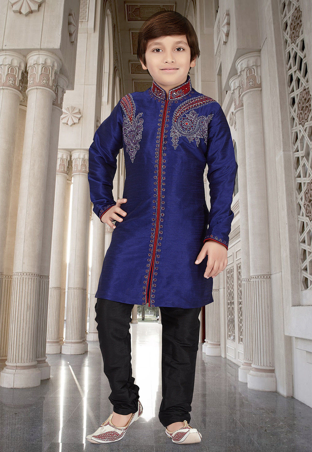 Embroidered Dupion Silk Sherwani in Dark Blue