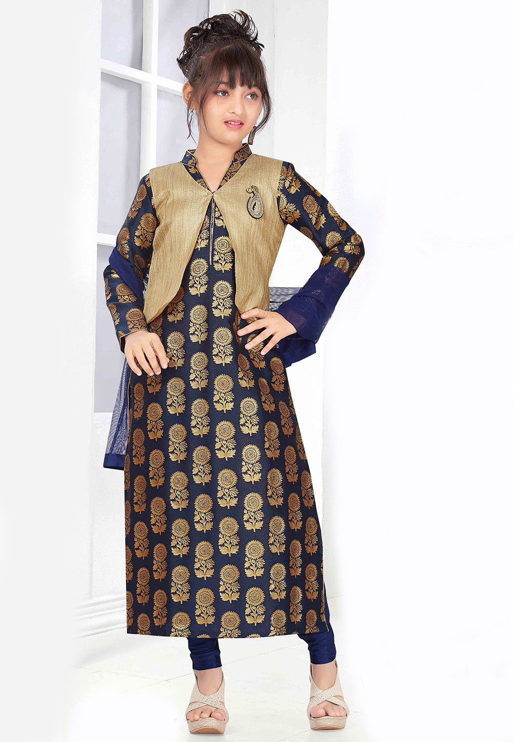 Embroidered Art Silk Jacquard Straight Cut Suit in Navy Blue