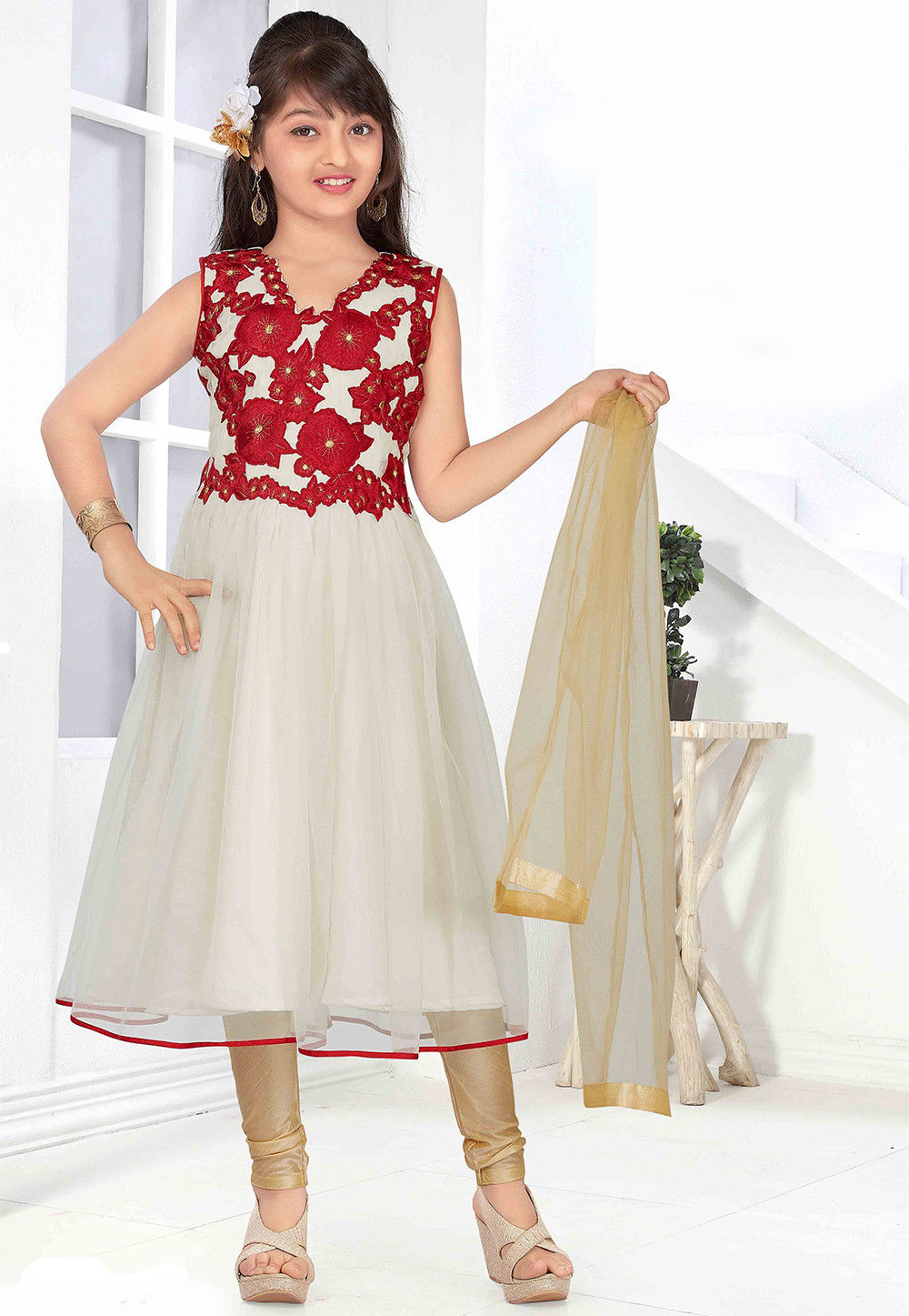 Embroidered Art Silk Anarkali Suit in Off White