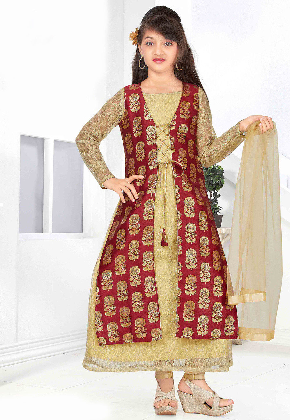 Woven Net and Art Silk Jacquard Jacket Style A Li in Beige with Maroon