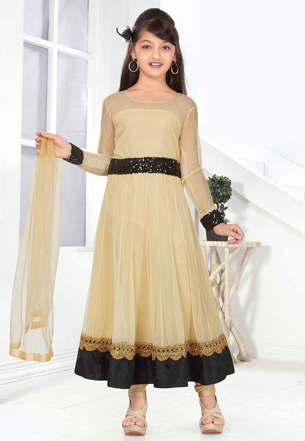Plain Net Anarkali Suit in Beige