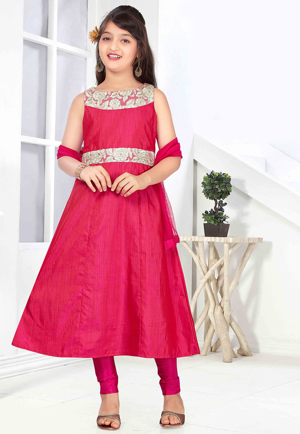 Plain Art Silk Anarkali Suit in Pink