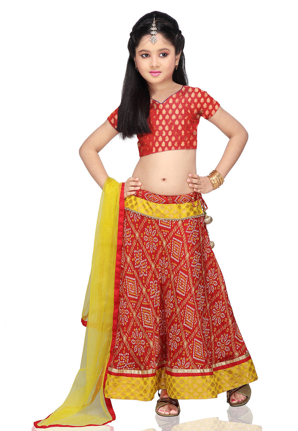 Printed Crepe Lehenga Set in Red