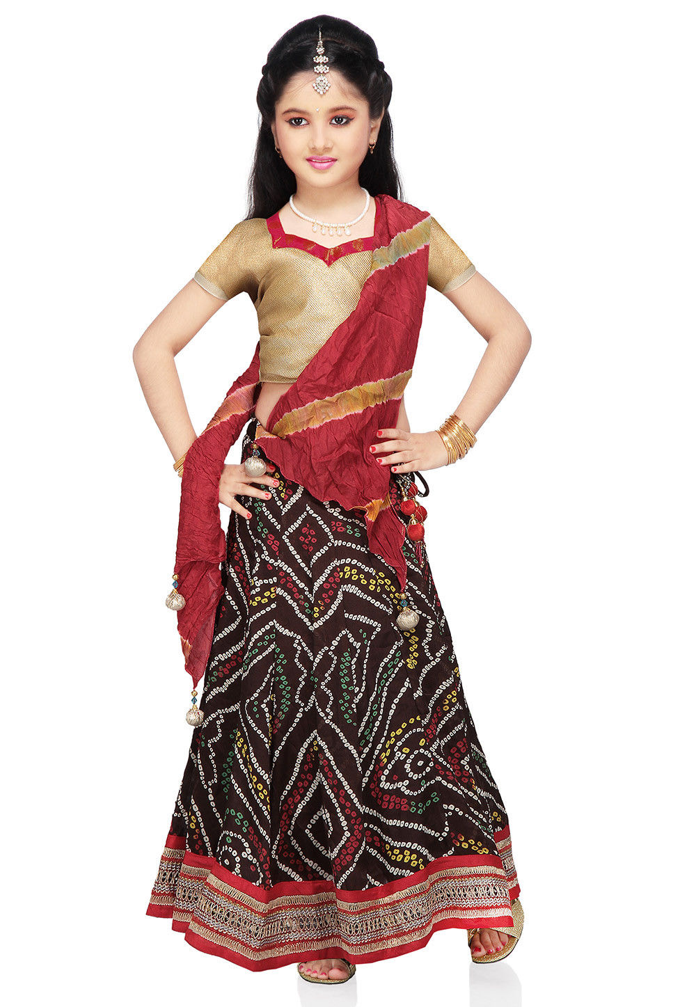 Printed Crepe Lehenga Set in Dark Brown