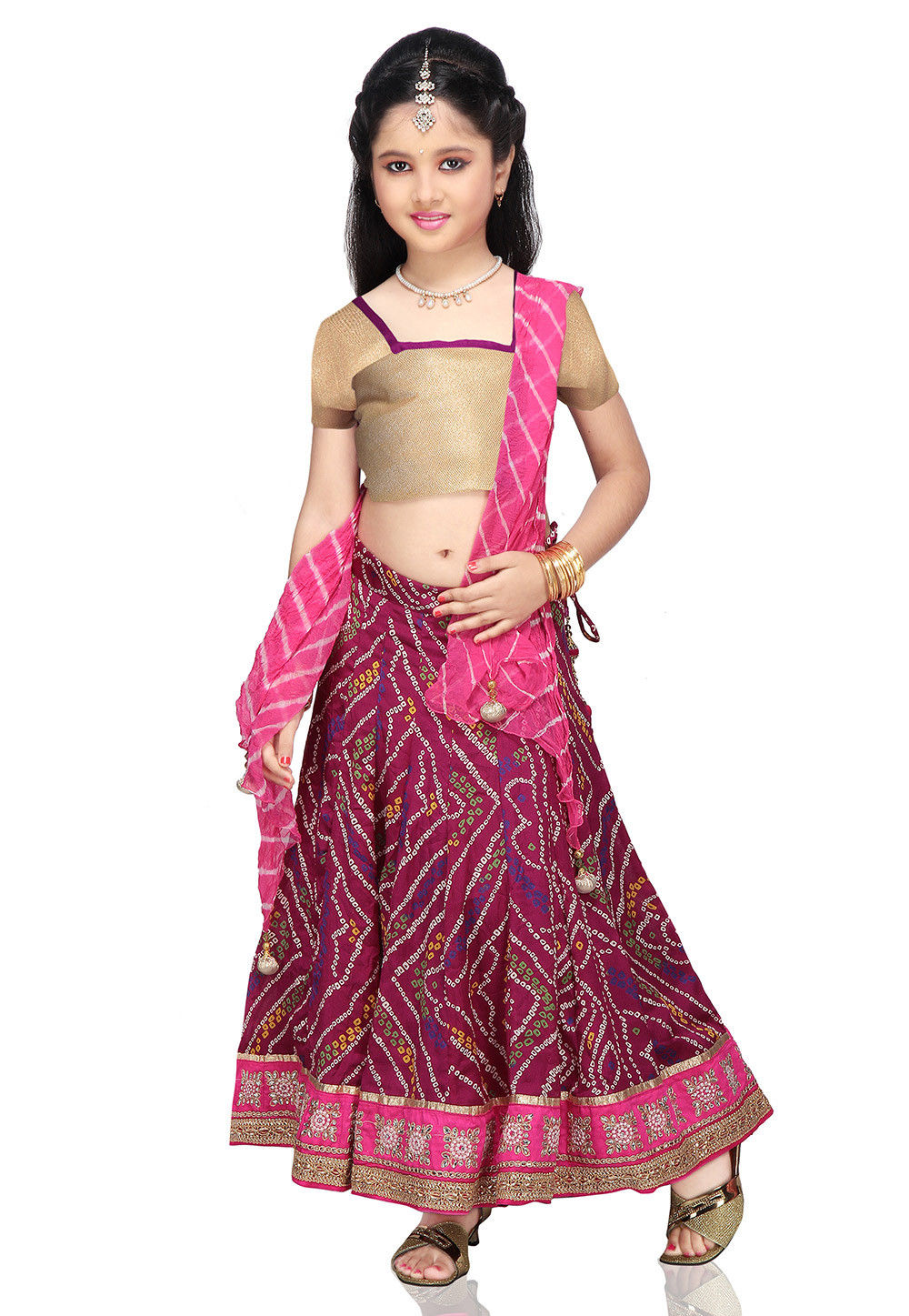 Printed Crepe Lehenga Set in Magenta