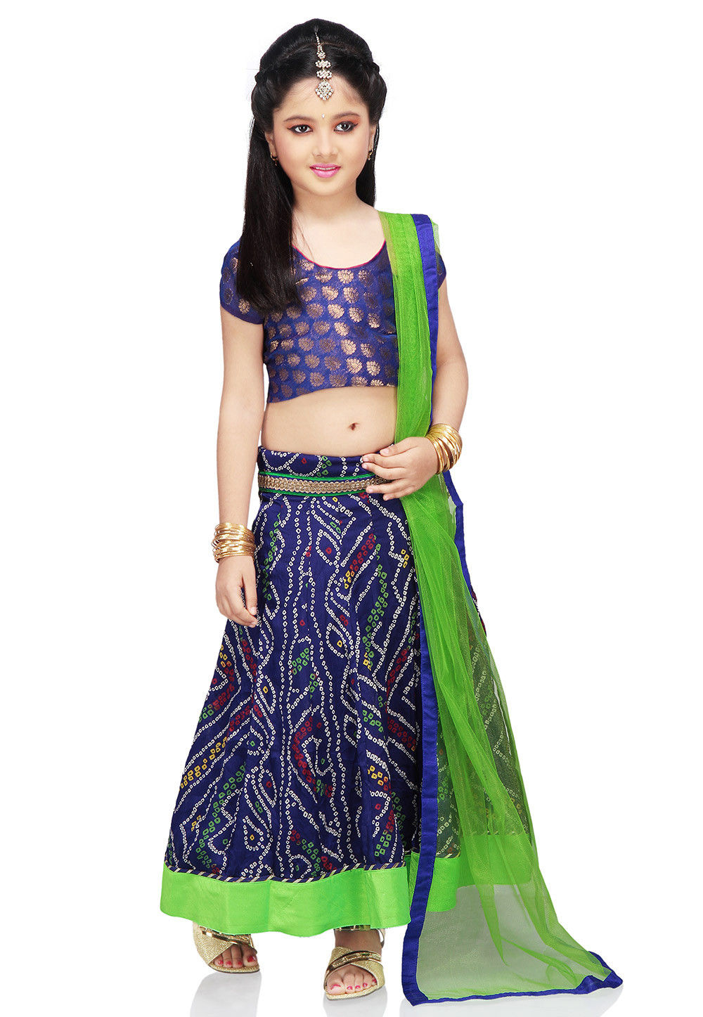 Printed Crepe Lehenga Set in Blue