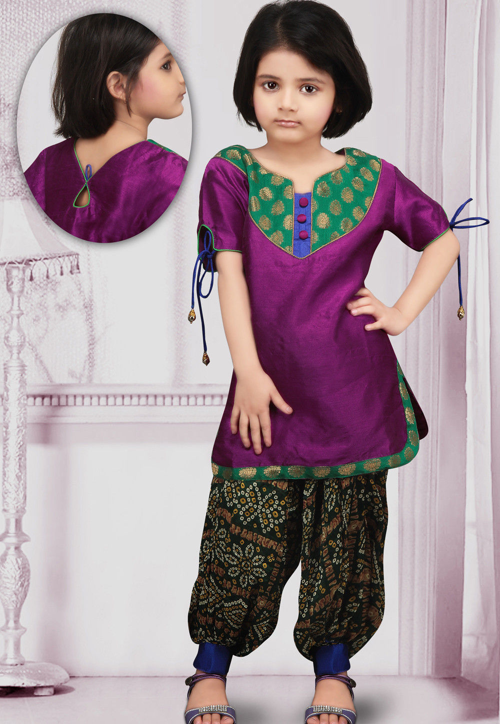 Dupion Silk Salwar Set in Magenta