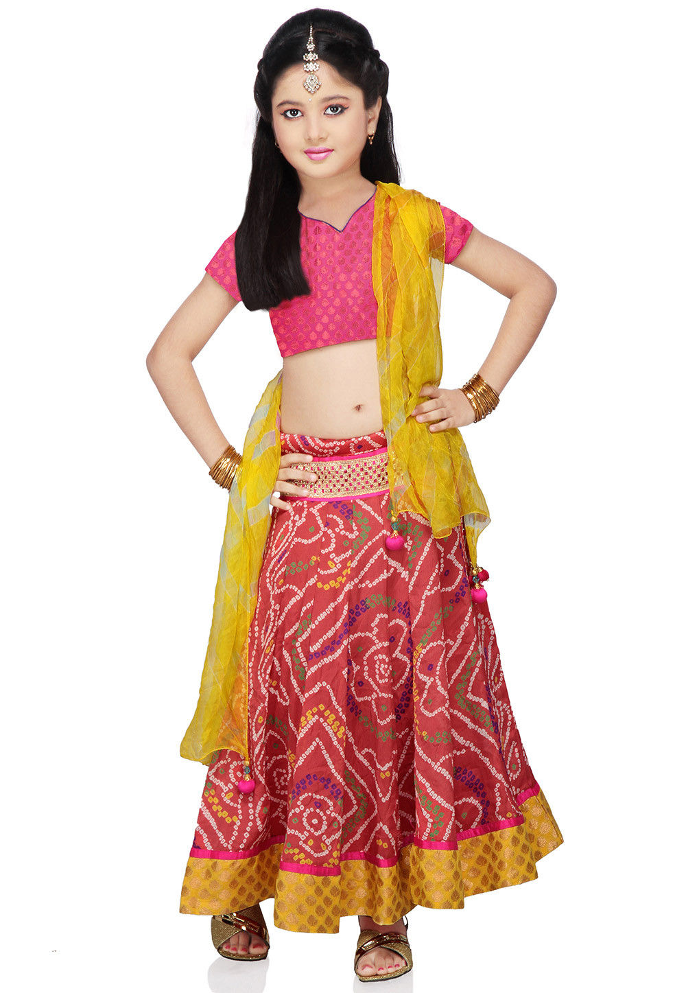 Printed Crepe Lehenga Set in Old Rose