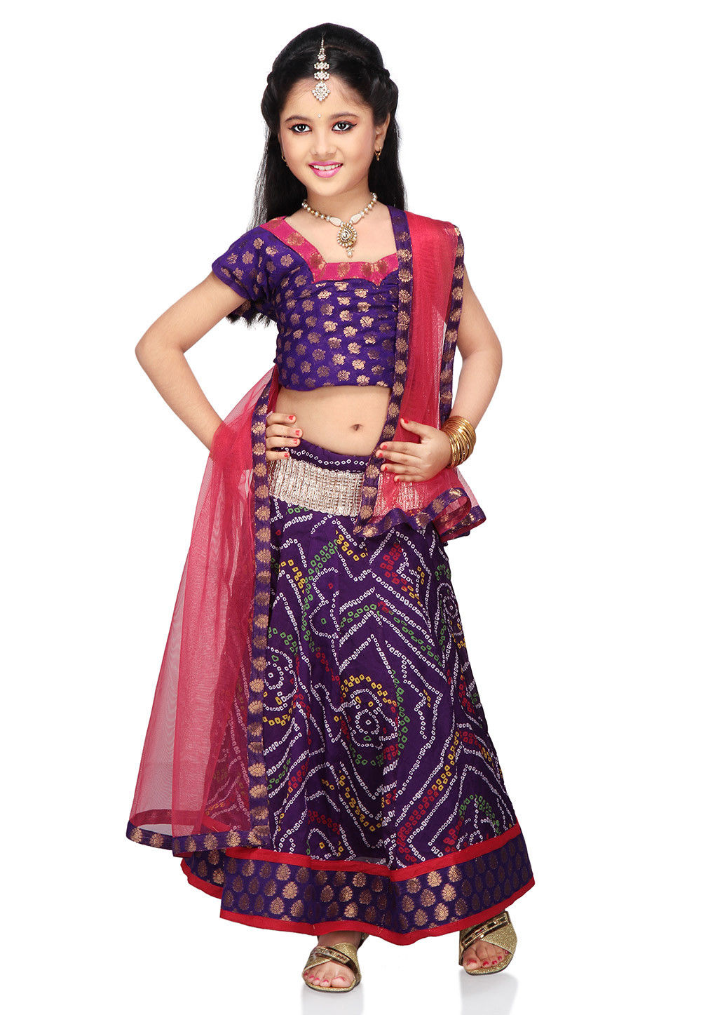 Printed Crepe Lehenga Set in Violet